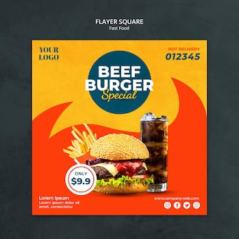 Folleto cuadrado de plantilla de anuncio de comida rápida