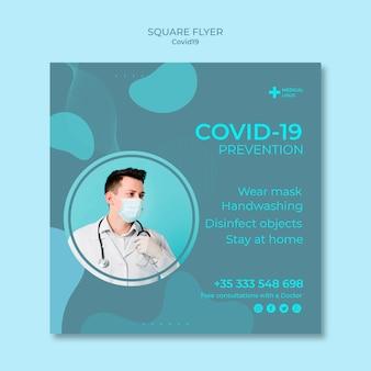 Folleto cuadrado para la prevención del coronavirus