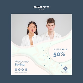 Folleto cuadrado de primavera con super oferta