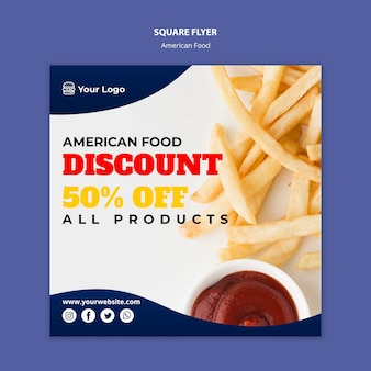 Folleto cuadrado para restaurante de comida americana