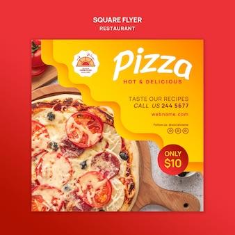 Folleto cuadrado de restaurante de pizza