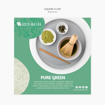 Folleto cuadrado de té matcha saludable