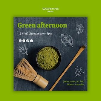 Folleto cuadrado de té verde matcha de la tarde