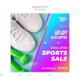 Folleto cuadrado para venta deportiva en línea