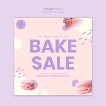Folleto cuadrado de venta de pasteles macarons