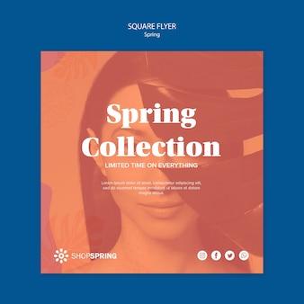 Folleto cuadrado de venta de primavera
