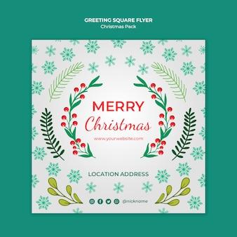 Folleto de feliz navidad con decoraciones