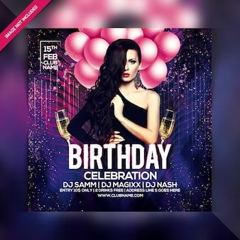 Folleto de fiesta de celebración de cumpleaños
