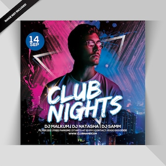 Folleto de fiesta de club nights