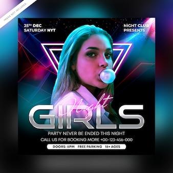 Folleto de fiesta de club nocturno de chicas