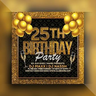 Folleto de fiesta de cumpleaños 25