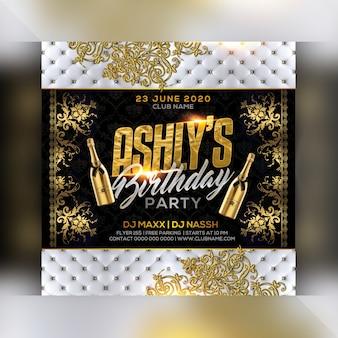Folleto de fiesta de cumpleaños en el club nocturno