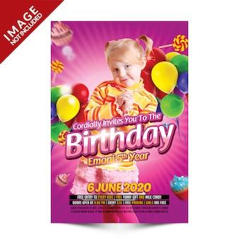 Folleto de fiesta de cumpleaños para niños