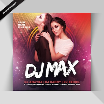 Folleto de fiesta dj max