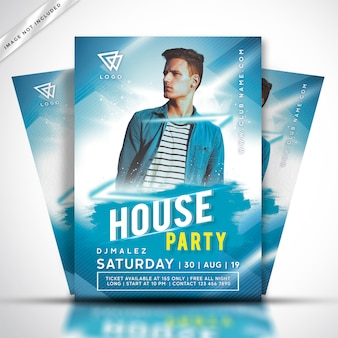 Folleto de la fiesta de dj de música house o plantilla de póster