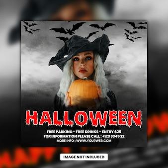 Folleto de la fiesta de dj de la noche de halloween, publicación en las redes sociales y banner web premium psd