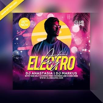 Folleto de fiesta electro