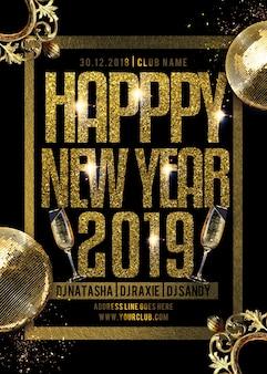 Folleto de fiesta feliz año nuevo