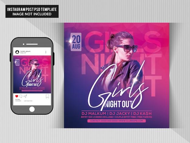 Folleto para la fiesta de girls night out