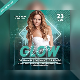 Folleto de fiesta de glow night