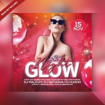 Folleto de fiesta de glow night