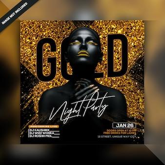 Folleto de fiesta gold night