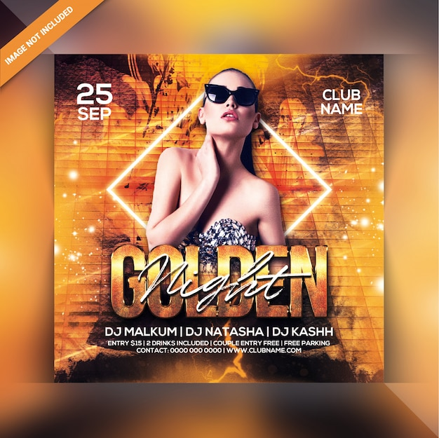 Folleto de la fiesta golden night