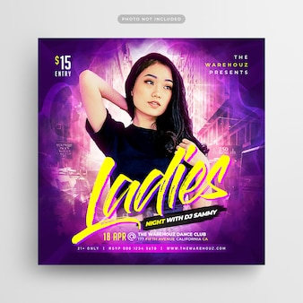 Folleto de fiesta de ladies night post de redes sociales y banner web