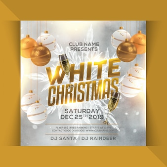 Folleto de fiesta de navidad blanca