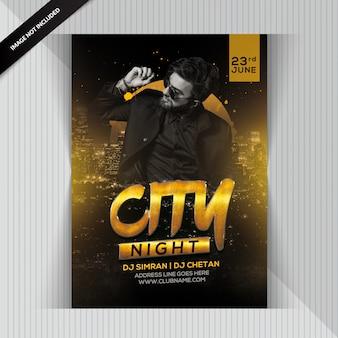 Folleto de la fiesta de la noche de la ciudad