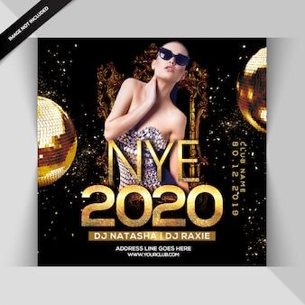 Folleto de fiesta de noche de feliz año nuevo 2020