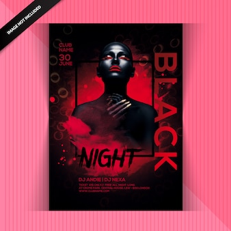 Folleto de fiesta de noche negra