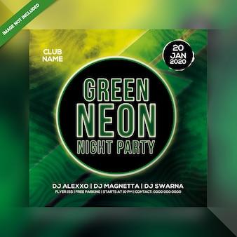 Folleto de fiesta de noche de neón verde