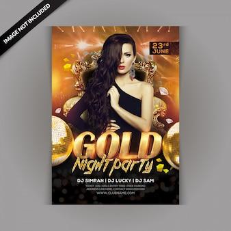 Folleto de fiesta de la noche de oro