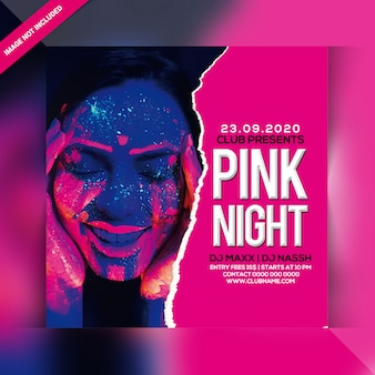 Folleto de fiesta de noche rosa