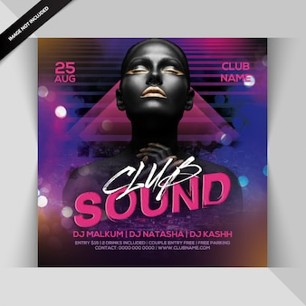 Folleto de fiesta nocturna del club sound
