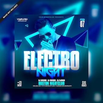 Folleto de fiesta nocturna de electro dj