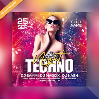 Folleto de fiesta nocturna techno