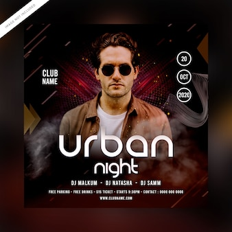 Folleto de fiesta nocturna urbana