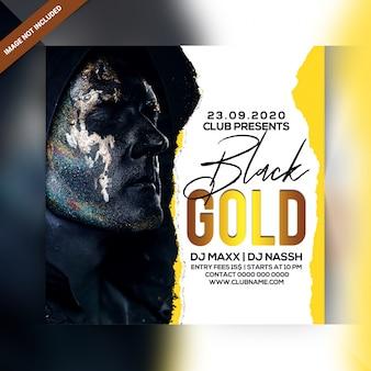 Folleto de fiesta de oro negro