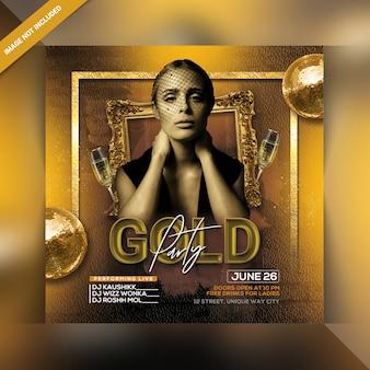 Folleto de fiesta de oro