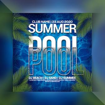 Folleto de fiesta en la piscina de verano