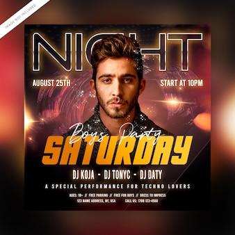 Folleto de fiesta del sábado por la noche o publicación en redes sociales