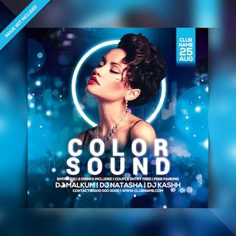 Folleto de fiesta de sonido de color