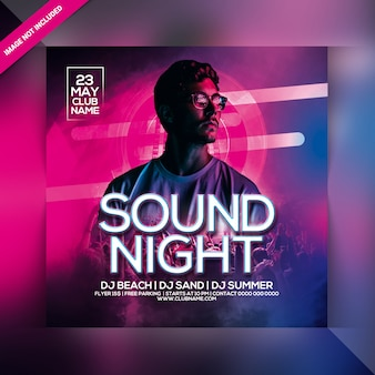 Folleto de fiesta de sonido nocturno