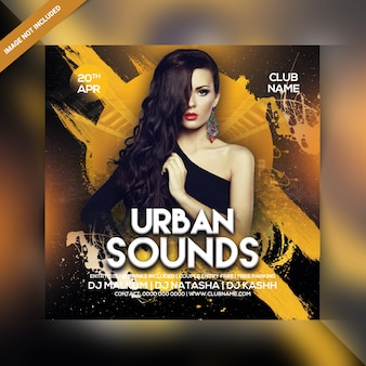Folleto de fiesta de sonidos urbanos