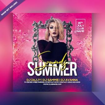 Folleto de fiesta de sonidos de verano