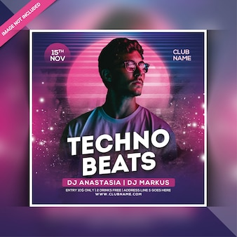 Folleto de fiesta techno beats
