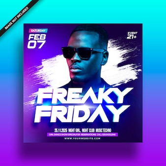 Folleto del freaky friday event party music club
