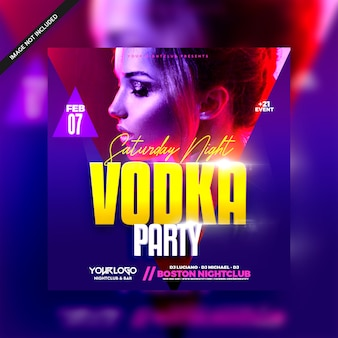 Folleto de girl vodka party night club